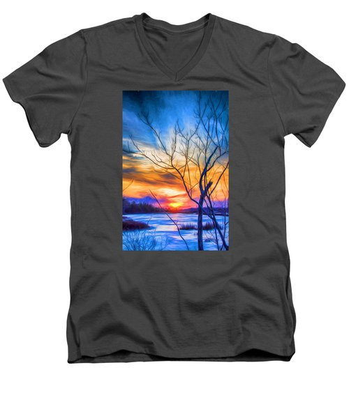Colorful Cold Sunset Men's V-Neck T-Shirt