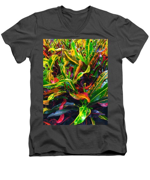 Colorful Crotons Men's V-Neck T-Shirt by Kay Gilley
