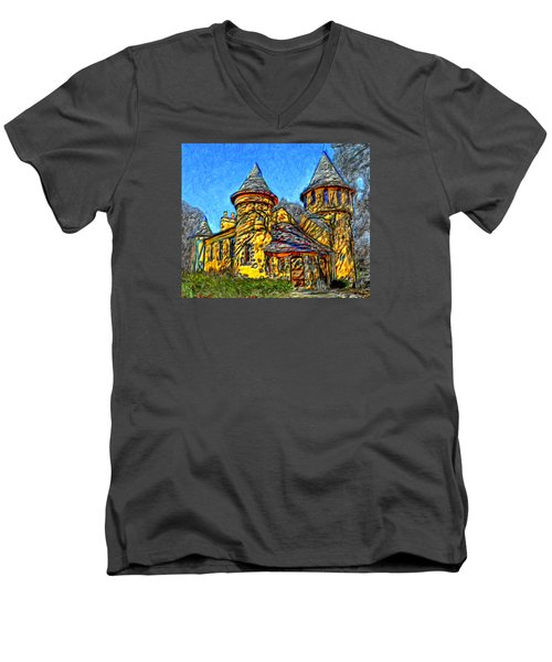 Colorful Curwood Castle Men's V-Neck T-Shirt by Bruce Nutting