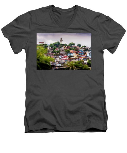 Colorful Houses On The Hill Men's V-Neck T-Shirt