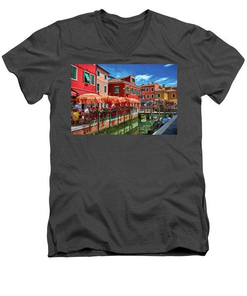 Colorful Day In Burano Men's V-Neck T-Shirt