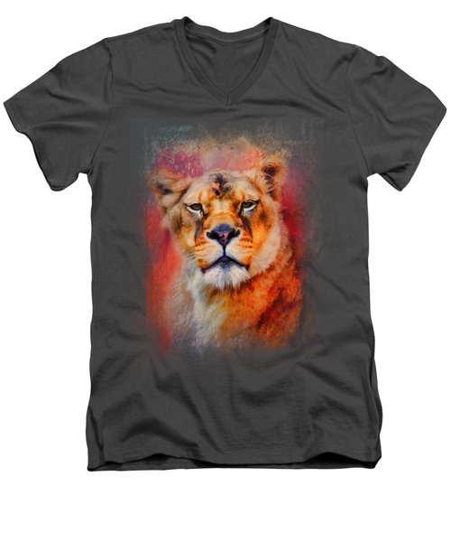 Colorful Expressions Lioness Men's V-Neck T-Shirt by Jai Johnson
