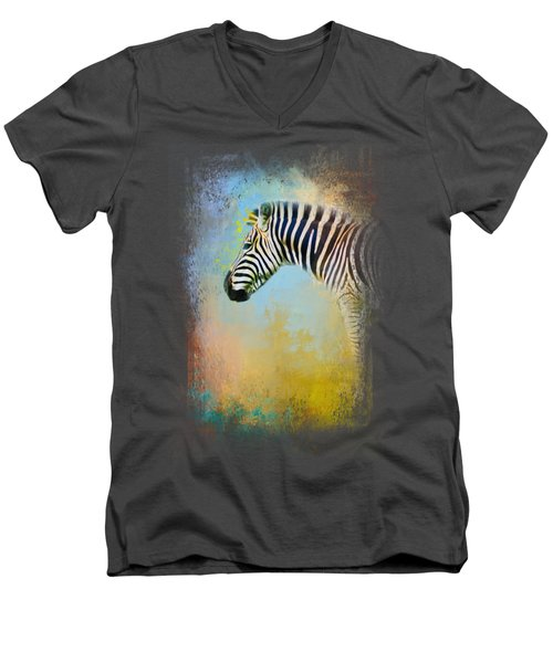 Colorful Expressions Zebra Men's V-Neck T-Shirt by Jai Johnson