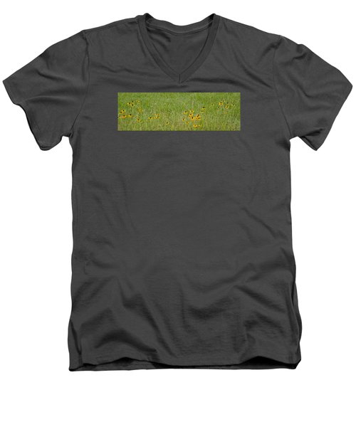 Men's V-Neck T-Shirt featuring the photograph Colorful Field by Wanda Krack