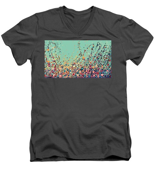 Men's V-Neck T-Shirt featuring the painting Colorful Flowers by Maja Sokolowska