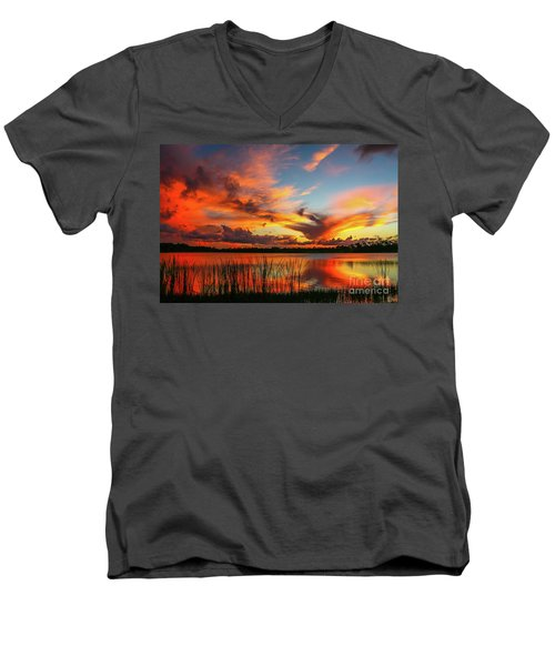 Colorful Fort Pierce Sunset Men's V-Neck T-Shirt by Tom Claud
