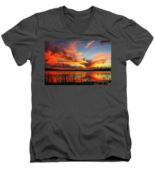 Colorful Fort Pierce Sunset Men's V-Neck T-Shirt