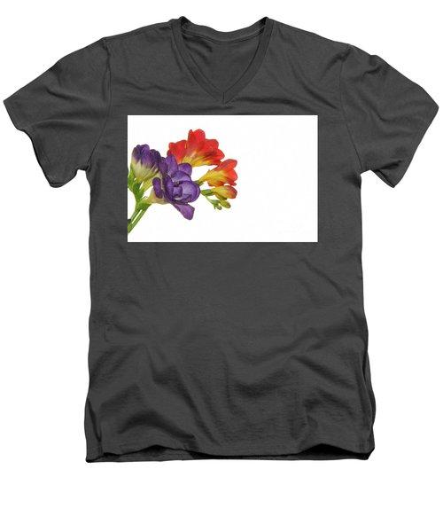 Colorful Freesias Men's V-Neck T-Shirt by Elvira Ladocki