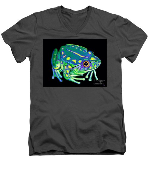 Men's V-Neck T-Shirt featuring the painting Colorful Froggy 2 by Nick Gustafson