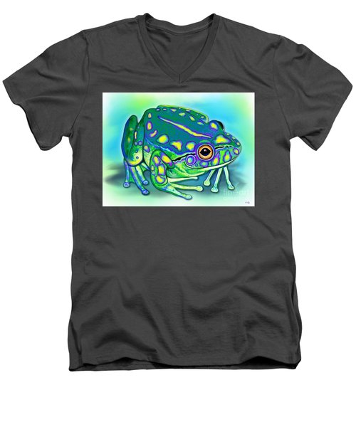 Men's V-Neck T-Shirt featuring the painting Colorful Froggy by Nick Gustafson