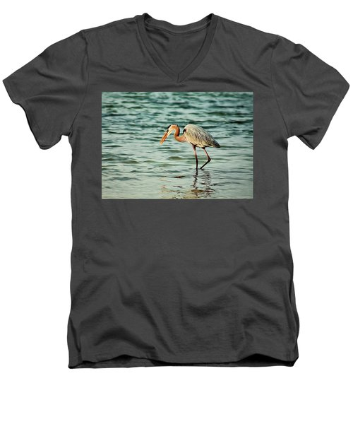 Colorful Heron Men's V-Neck T-Shirt