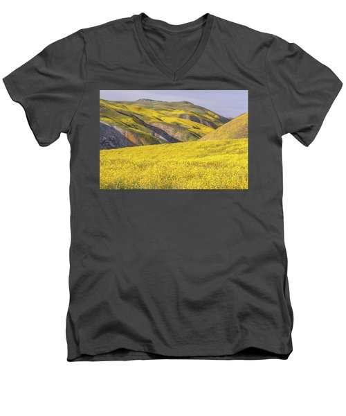Men's V-Neck T-Shirt featuring the photograph Colorful Hill And Golden Field by Marc Crumpler