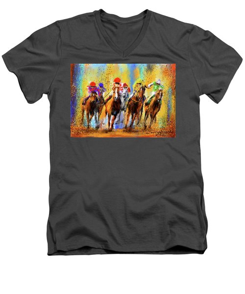 Colorful Horse Racing Impressionist Paintings Men's V-Neck T-Shirt