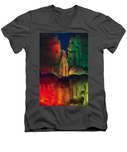 Colorful Ice  Men's V-Neck T-Shirt by Betty Pauwels