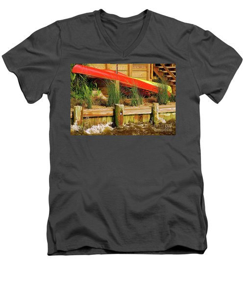 Men's V-Neck T-Shirt featuring the photograph Colorful Kayak Duo by Lois Bryan