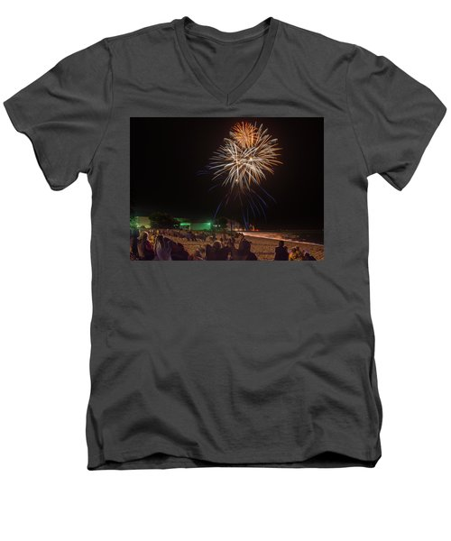 Men's V-Neck T-Shirt featuring the photograph Colorful Kewaunee, Fourth by Bill Pevlor