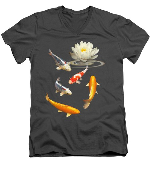 Colorful Koi With Water Lily Men's V-Neck T-Shirt by Gill Billington