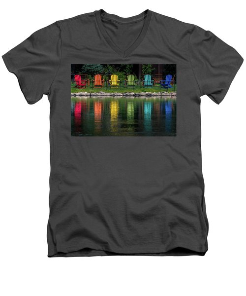 Colorful  Men's V-Neck T-Shirt by Martina Thompson
