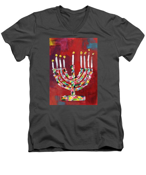 Colorful Menorah- Art By Linda Woods Men's V-Neck T-Shirt