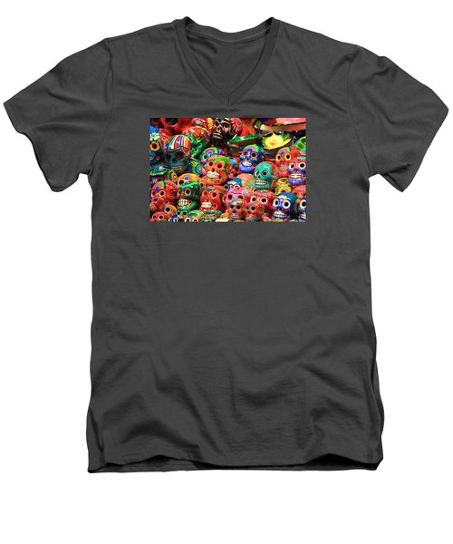 Colorful Mexican Day Of The Dean Ceramic Skulls Men's V-Neck T-Shirt by Roupen  Baker