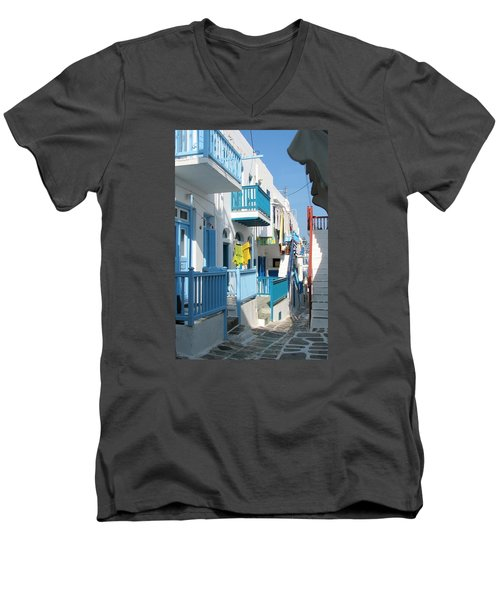 Men's V-Neck T-Shirt featuring the photograph Colorful Mykonos by Carla Parris