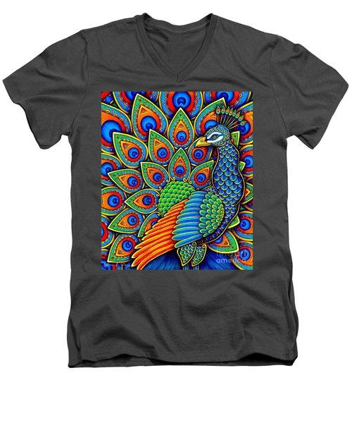 Colorful Paisley Peacock Men's V-Neck T-Shirt