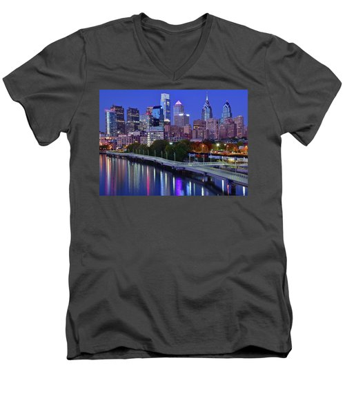 Men's V-Neck T-Shirt featuring the photograph Colorful Philly Night Lights by Frozen in Time Fine Art Photography
