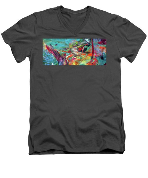 Colorful Puffin Bird Art - Happy Abstract Animal Birds Painting Men's V-Neck T-Shirt