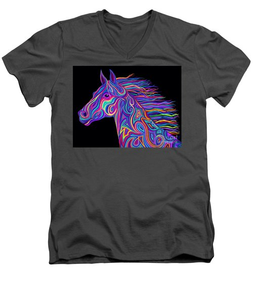 Men's V-Neck T-Shirt featuring the drawing Colorful Rainbow Stallion  by Nick Gustafson