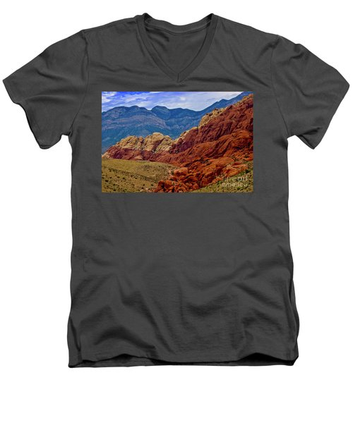 Colorful Red Rock Men's V-Neck T-Shirt