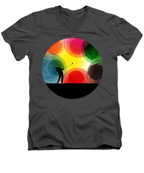 Colorful Retro Silhouette Golfer Men's V-Neck T-Shirt by Phil Perkins