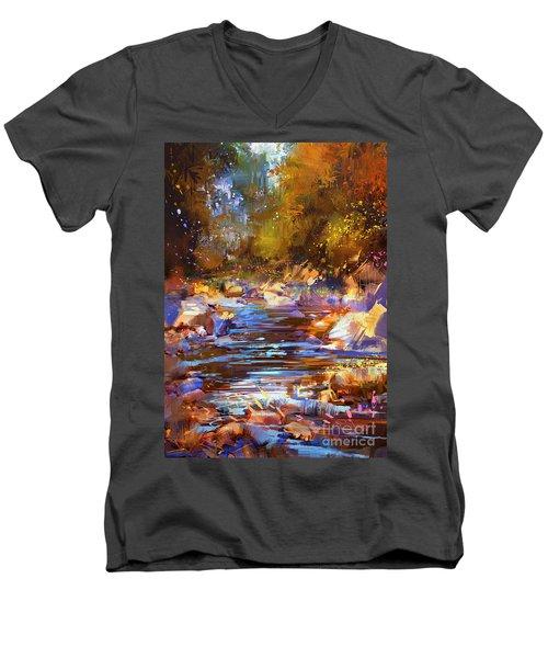 Colorful River Men's V-Neck T-Shirt