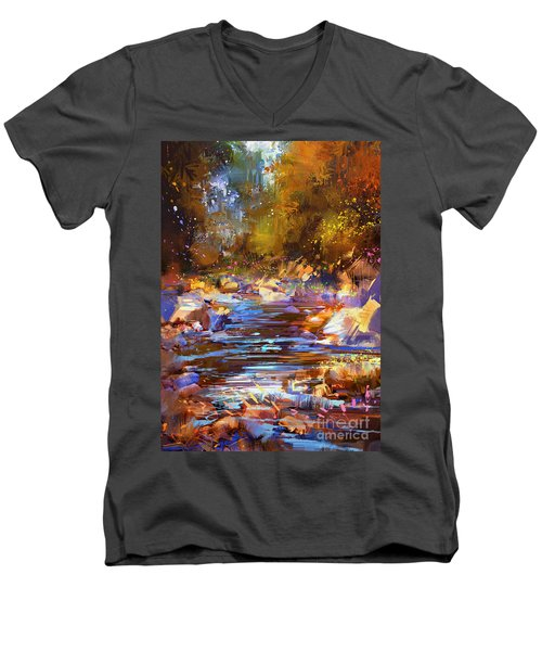 Colorful River Men's V-Neck T-Shirt