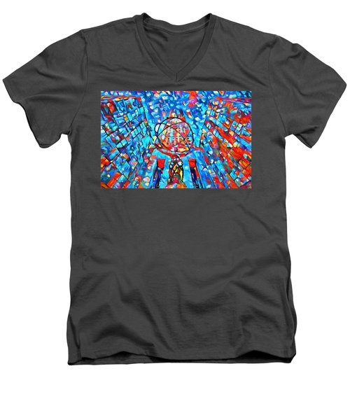 Men's V-Neck T-Shirt featuring the painting Colorful Rockefeller Center Atlas by Dan Sproul