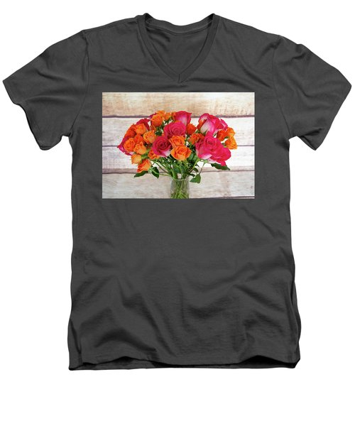 Colorful Rose Bouquet Men's V-Neck T-Shirt