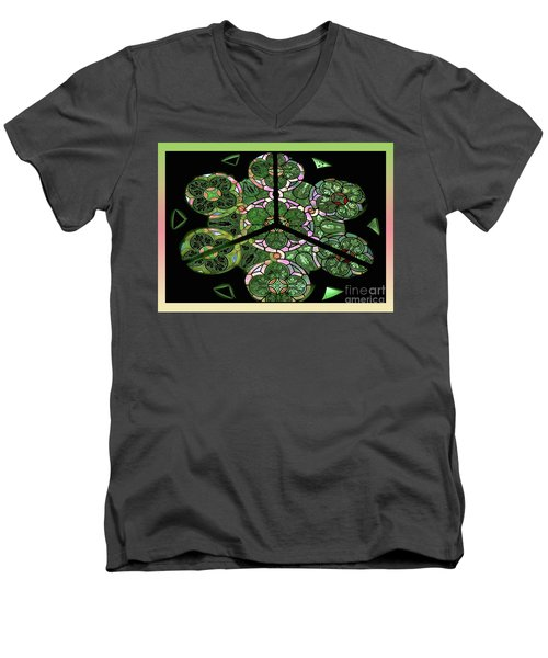 Colorful Rosette In Pink-green Men's V-Neck T-Shirt