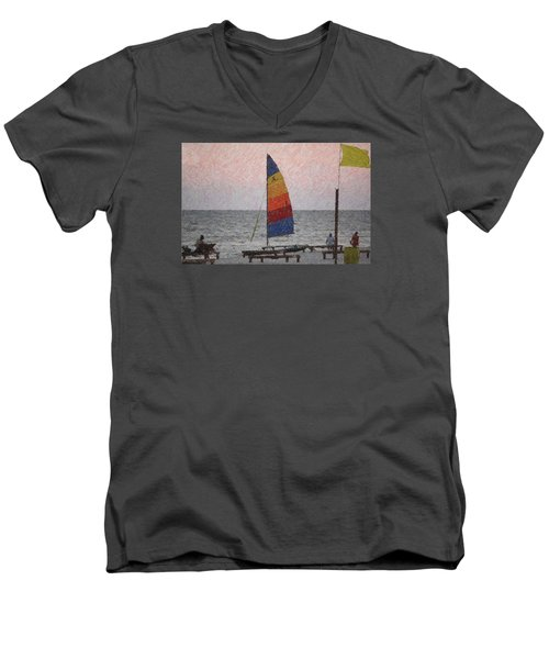 Colorful Sails Men's V-Neck T-Shirt by Donna G  Smith