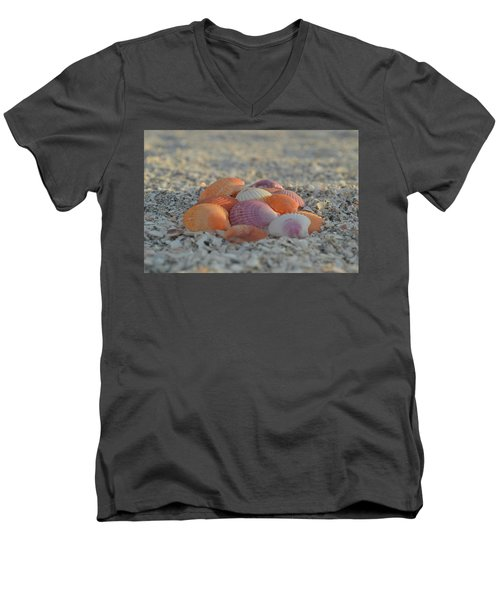 Men's V-Neck T-Shirt featuring the photograph Colorful Scallop Shells by Melanie Moraga