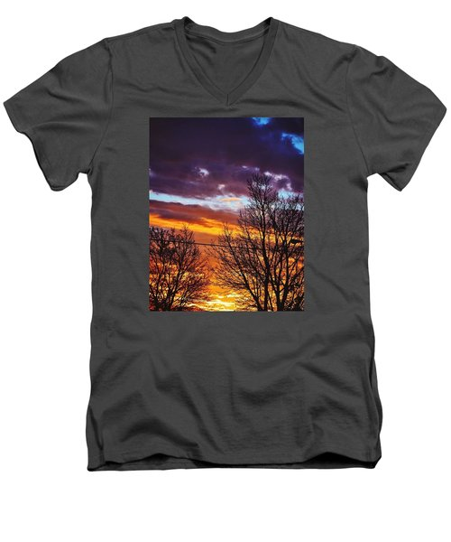 Colorful Skies Men's V-Neck T-Shirt by Nikki McInnes