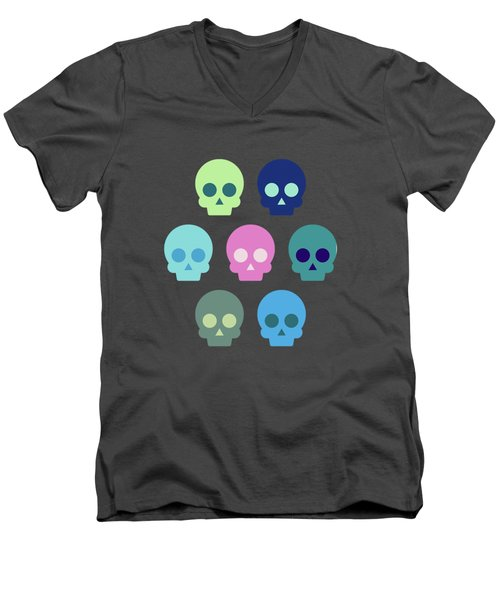 Colorful Skull Cute Pattern Men's V-Neck T-Shirt