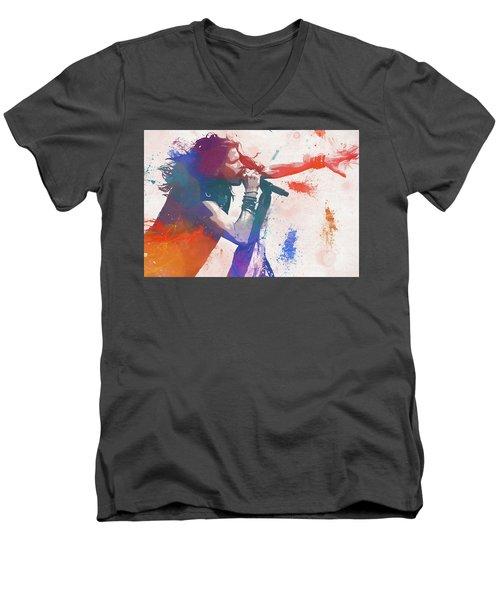 Colorful Steven Tyler Paint Splatter Men's V-Neck T-Shirt