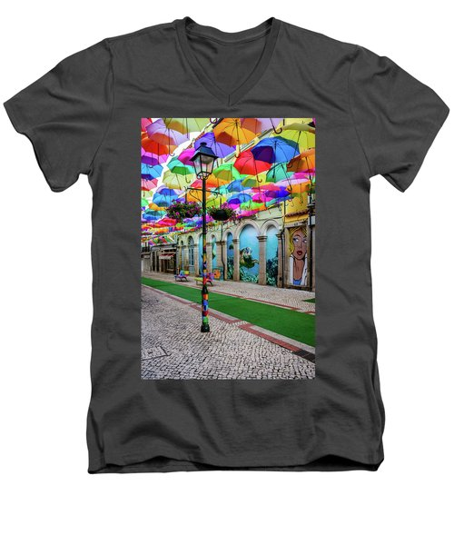 Colorful Street Men's V-Neck T-Shirt by Marco Oliveira