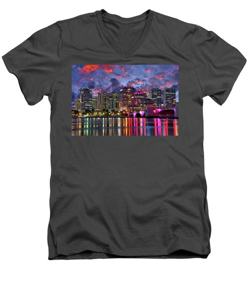 Colorful Sunset Over Downtown West Palm Beach Florida Men's V-Neck T-Shirt