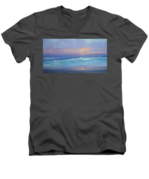 Cape Cod Colorful Sunset Seascape Beach Painting With Wave Men's V-Neck T-Shirt