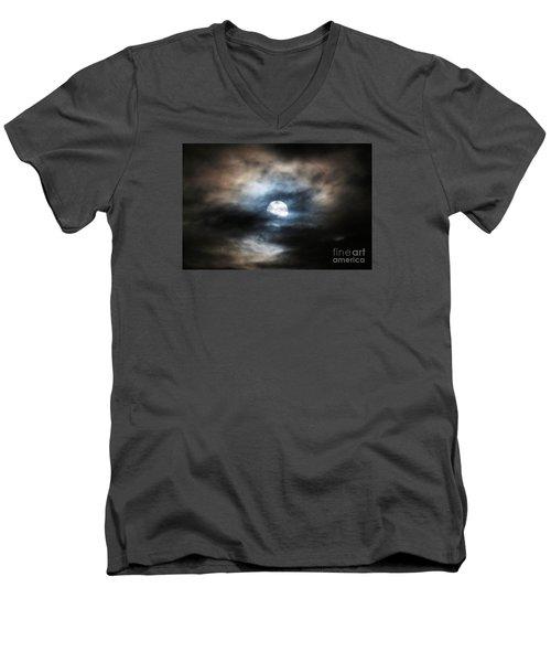 Colorful Super Moon Men's V-Neck T-Shirt