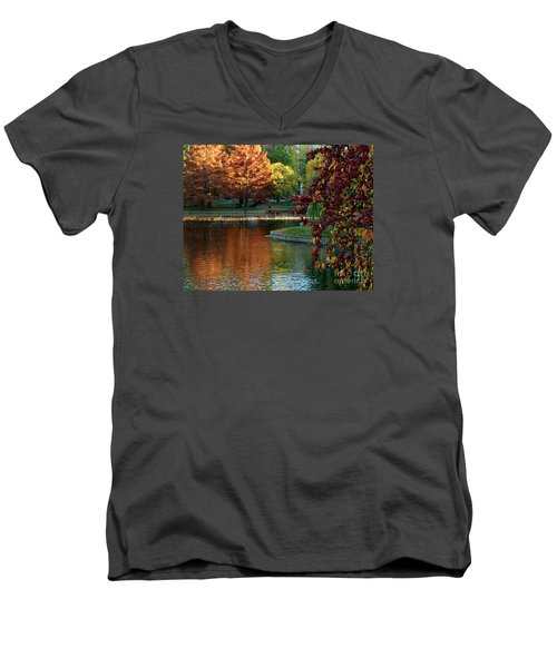 Men's V-Neck T-Shirt featuring the photograph Colorful Trees Boston by Haleh Mahbod
