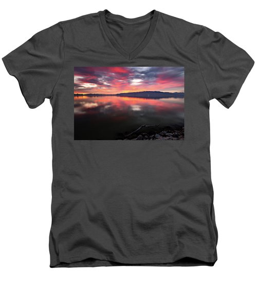 Men's V-Neck T-Shirt featuring the photograph Colorful Utah Lake Sunset by Wesley Aston