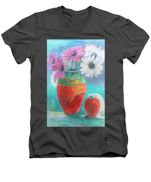 Colorful Vases And Flowers Men's V-Neck T-Shirt