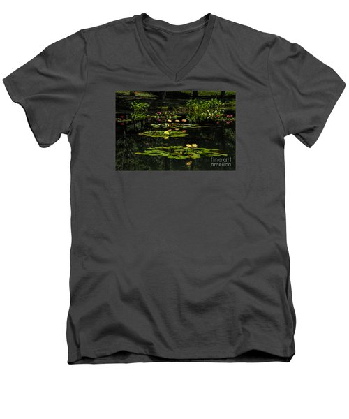 Colorful Waterlily Pond Men's V-Neck T-Shirt by Barbara Bowen