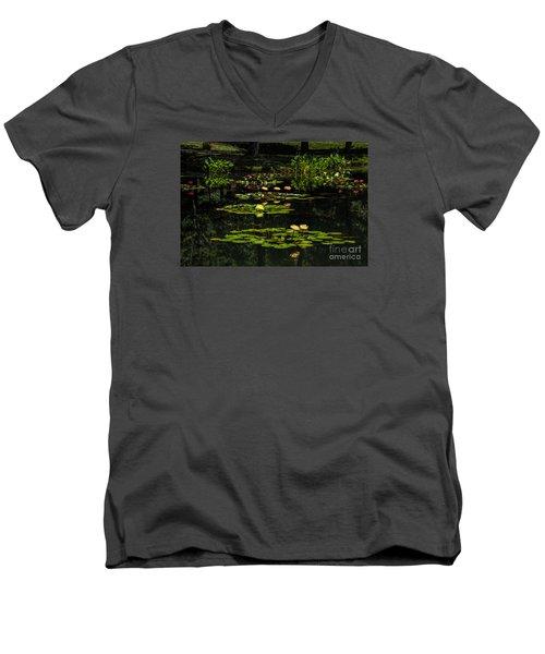 Colorful Waterlily Pond Men's V-Neck T-Shirt